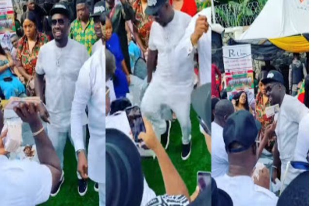 Moment Obi Cubana And His Friends Useless Nigeria Currency As They Turn Bundles Of 50K Into Ball [Video]