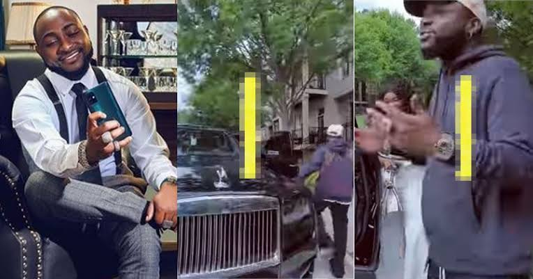"""""""Another one on the way"""" – Singer, Davido hint fans on plans to acquire a new car as he prepares to ship his Rolls Royce down to Nigeria (Video)"""