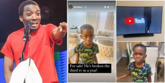 Comedian Bovi puts his last son up for 'sale' after he broke their TV set for the third time this year (Video)