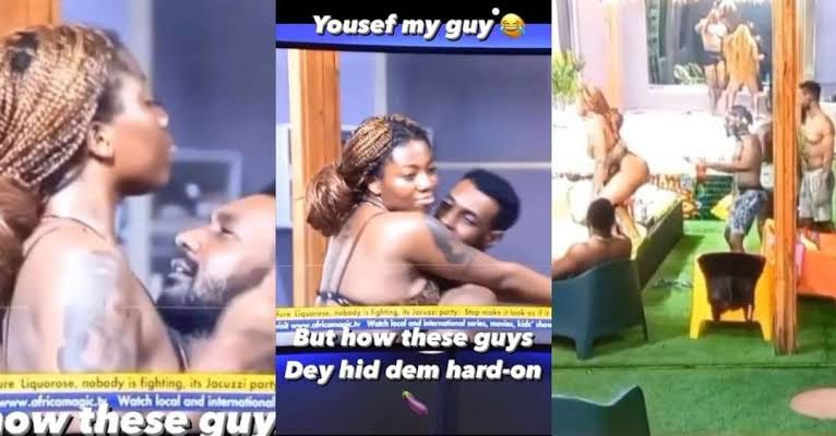 """#BBNaija : """"Na Angel go kill Yousef Las las"""" Reactions as Yousef and Angel passionate dance and rock at the jacuzzi party (Video)"""
