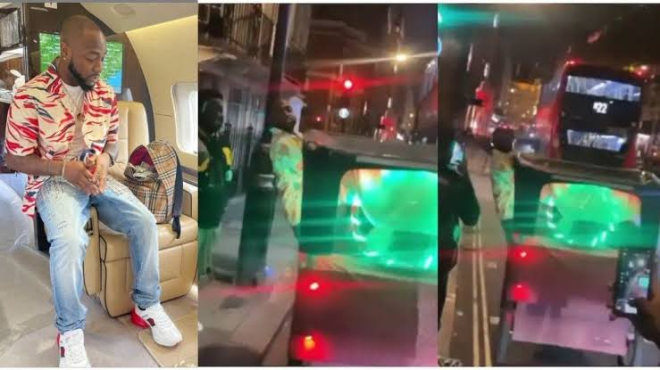 Davido acts as conductor as he hops on moving 'keke napep' in London (Video)