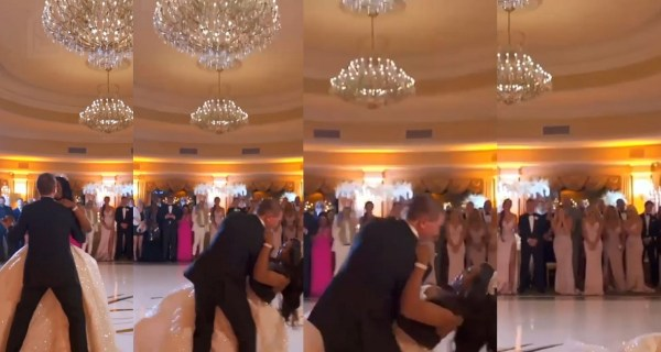 Couple suffer embarrassing fall during first dance at their wedding (WATCH)